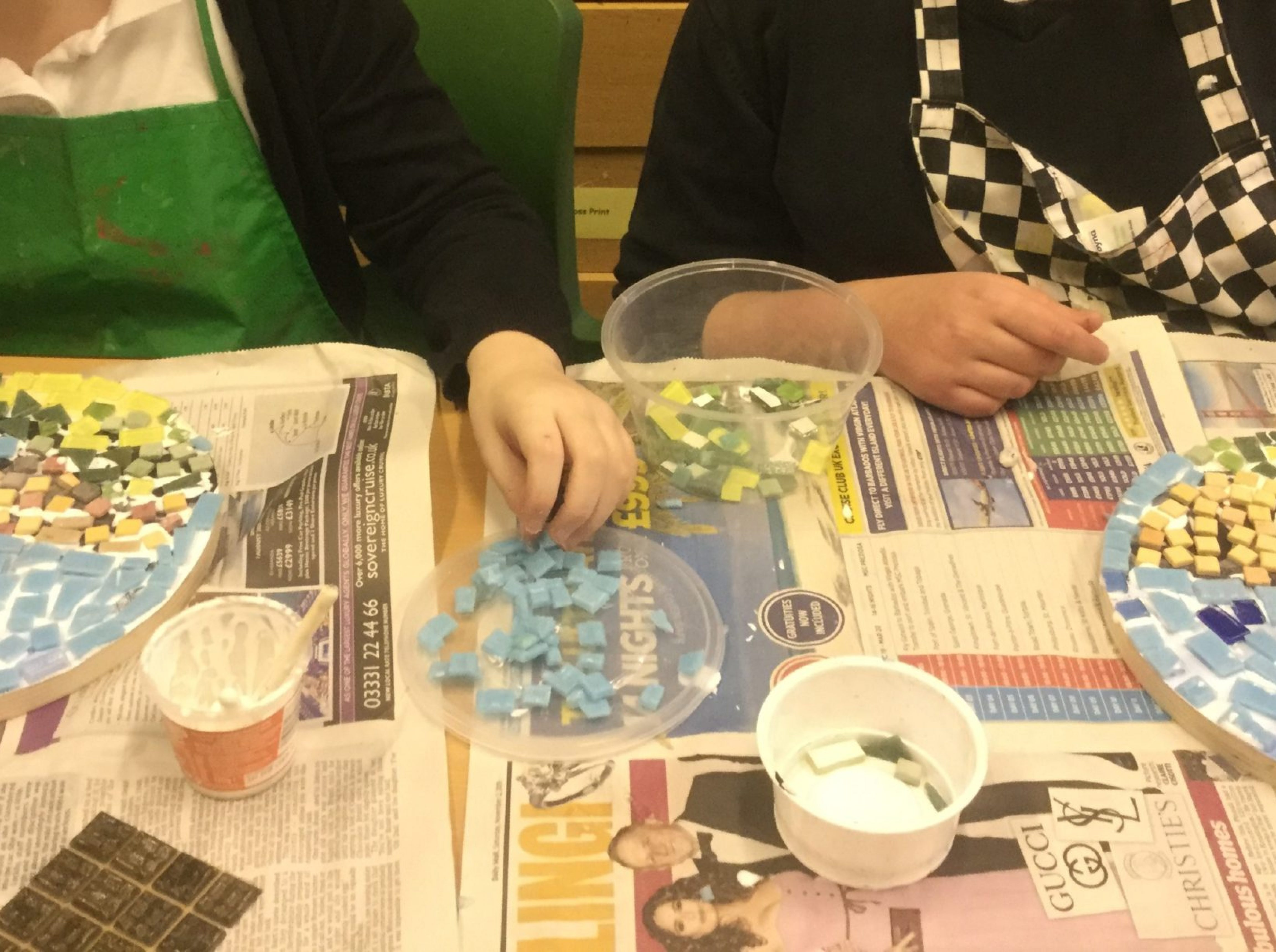 Students were taught how to mosaic by our visitin TWINNED artist